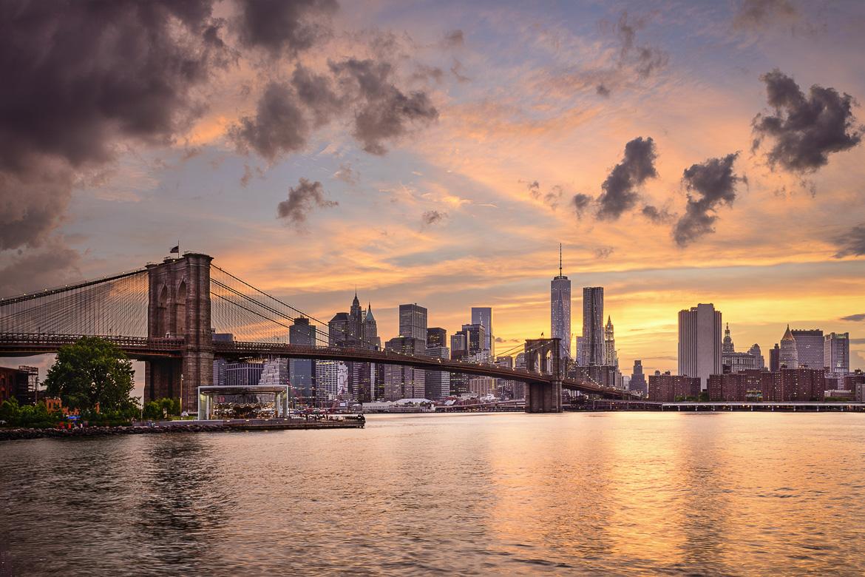 New York City, USA skyline at sunset.