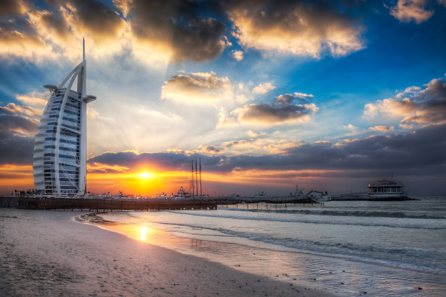 Burj Al Arab Jumeirah Beach Sunset From - (HDR Dubai, UAE)