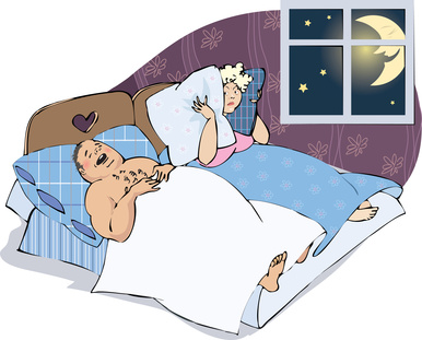 Vector cartoon of a snoring husband and wife disturbed