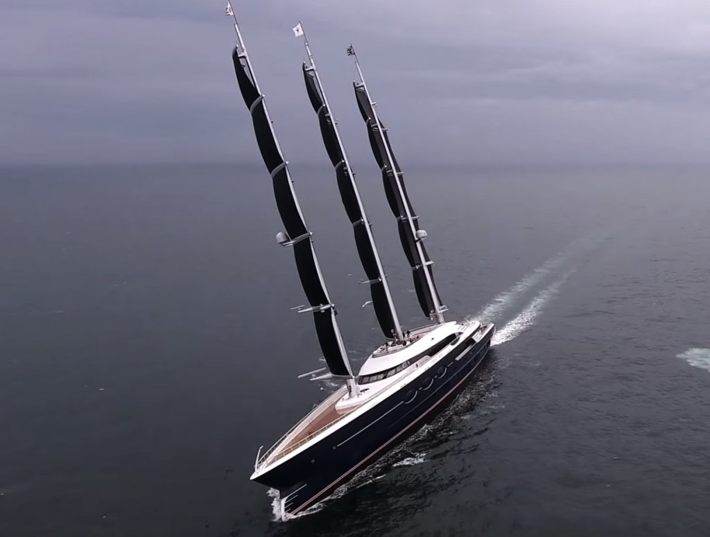 Black Pearl the sailing yacht with the new DynaRig rig